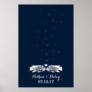 Küssen von Fische Thumbprint Blasen, die Gast-Buch Poster