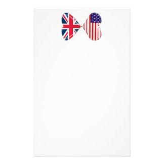 Küssen von USA und von BRITISCHER Briefpapier
