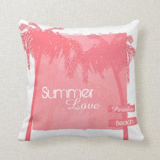 kussen zomer palmbomen roze kissen