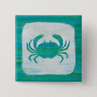 Küsten| Aqua-Krabbe Quadratischer Button 5,1 Cm