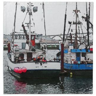 Küstenfischerboote des Aquarells im Hafen Serviette