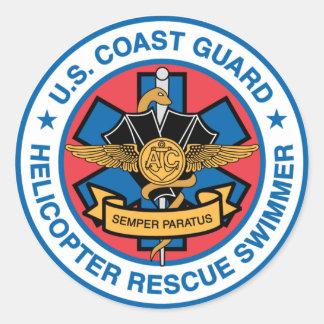 Küstenwache-Rettungs-Schwimmer Runder Aufkleber