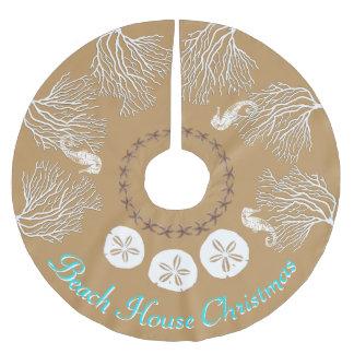 Küstenweihnachtsseekoralle personalisiert polyester weihnachtsbaumdecke