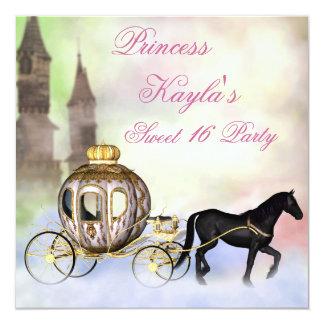Kutsche-Prinzessin Sweet 16 Prinzessin-Castle Quadratische 13,3 Cm Einladungskarte