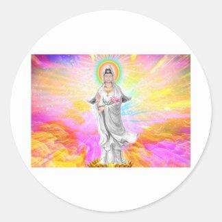 Kwan Yin die Göttin des Mitleids Runder Aufkleber