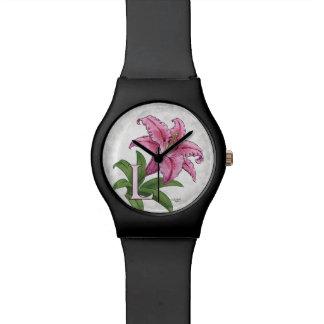 L für Lilien-Blumen-Alphabet-Monogramm Uhr