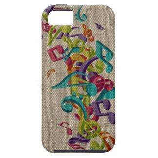 La belle musique de texture de toile de jute note coque iPhone 5