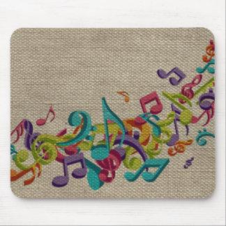 La belle musique de texture de toile de jute note  tapis de souris