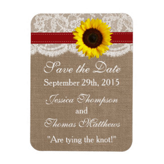 La collection rustique de mariage de tournesol - magnets rectangulaire
