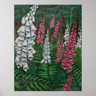 La digitale d'impression d'art de fleurs sauvages poster