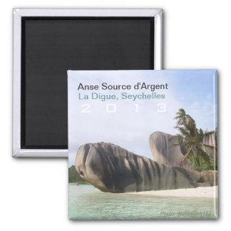 La Digue, Seychellen-Strand-Magnet-Änderungs-Jahr Quadratischer Magnet
