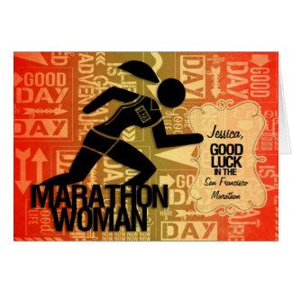 La femme de marathon de bonne chance folâtre la carte de vœux