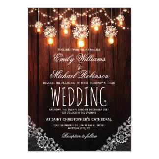 La ficelle de pots de maçon allume le mariage carton d'invitation  12,7 cm x 17,78 cm