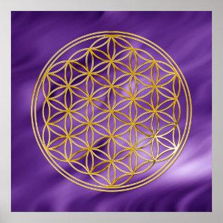 La fleur de l or de la vie lila ondule posters
