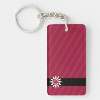 La fleur rose et blanche barre le porte - clé porte-clé rectangulaire en acrylique double face
