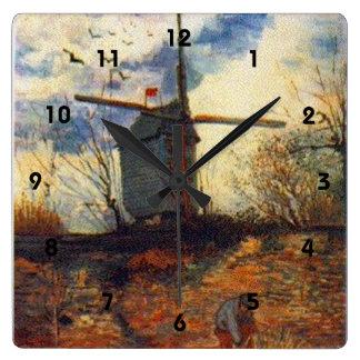 La Galette Van Gogh Le Moulin de Quadratische Wanduhr