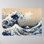 La grande vague outre de l'art de pixel de bit de poster