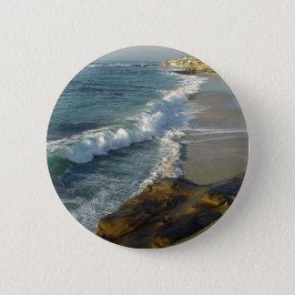La- Jollabucht-Strand bewegt Sand-Ozean Runder Button 5,1 Cm