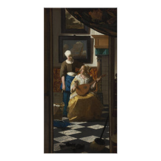 La lettre d'amour par Johannes Vermeer Cartes De Vœux Avec Photo