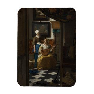 La lettre d'amour par Johannes Vermeer Magnets Rectangulaire