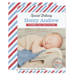 La livraison spéciale des annonces | de naissance carton d'invitation  12,7 cm x 17,78 cm