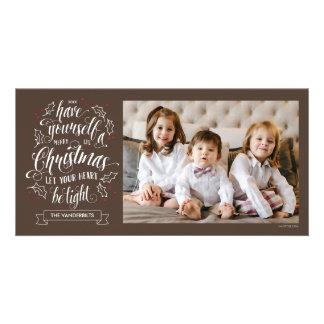 La main a marqué avec des lettres le Joyeux Noël Photocarte Personnalisée