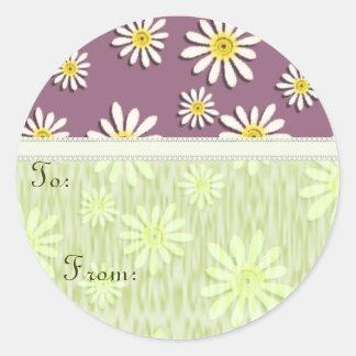 La marguerite lunatique de fleur sauvage de sticker rond