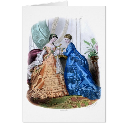 La-Modus Illustree Pfirsich und blaue Kleider Grußkarte