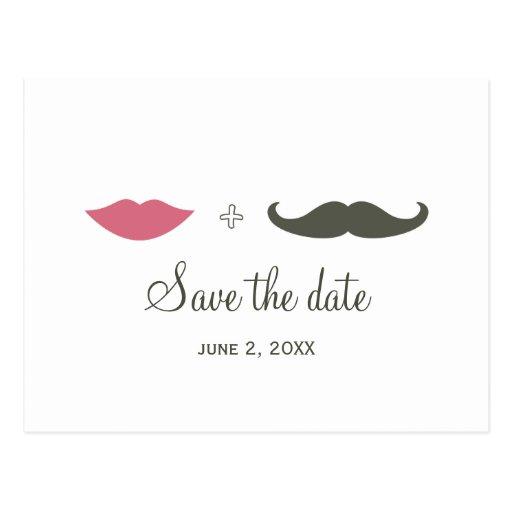 La moustache et les lèvres élégantes font gagner l carte postale