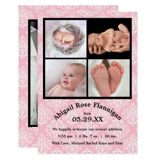La naissance du rose Damask-3x5 de collage de Carton D'invitation 8,89 Cm X 12,70 Cm
