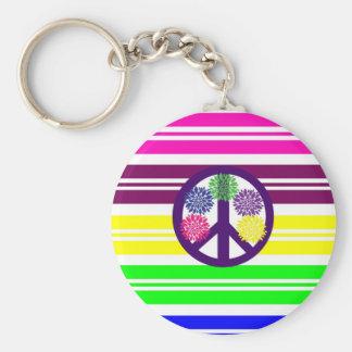La paix hippie de flower power se connectent des r porte-clé rond