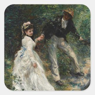 La-Promenade Renoir Paar-gehende Malerei-Kunst Quadratischer Aufkleber