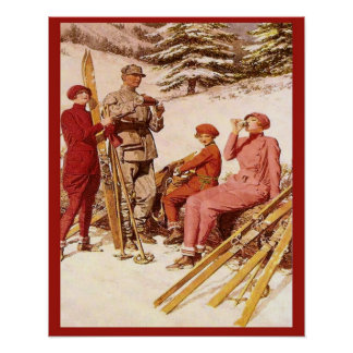La rétro publicité vintage, affiche de ski, mode