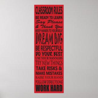 """La salle de classe ordonne l'affiche (rouge), 12""""  poster"""