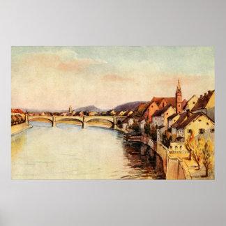 La Suisse antique vintage le Rhin Bâle
