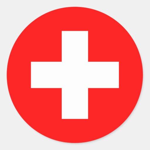 la suisse drapeau suisse sticker rond zazzle. Black Bedroom Furniture Sets. Home Design Ideas