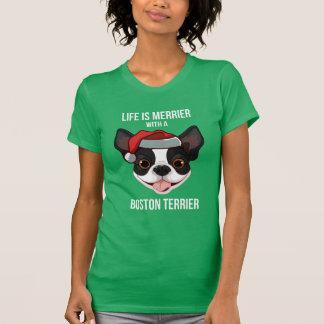 La vie est plus joyeuse avec Boston Terrier T-shirt
