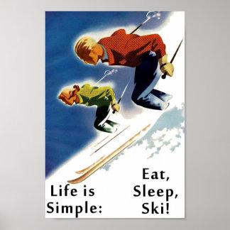 La vie est simple mangent l'affiche de ski de somm