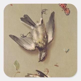 La vie toujours des oiseaux et des cerises morts, stickers carrés