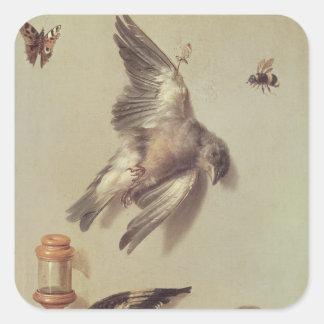La vie toujours des oiseaux morts et d'une souris, autocollant carré