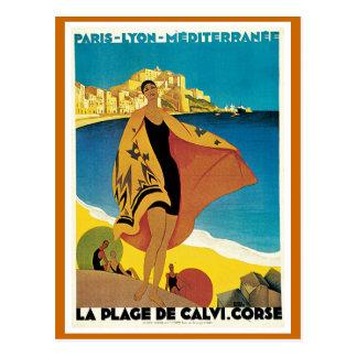 """La Vintages Reise-Plakat Des Strand Calvi"" Postkarte"