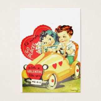 La voiture vintage badine la Saint-Valentin Cartes De Visite