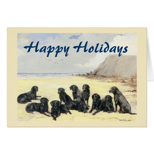 Labrador-Retriever auf der Strand-Weihnachtskarte Karte