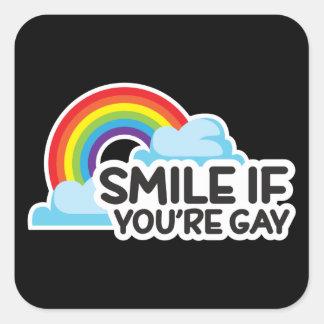 Lächeln Sie, wenn Sie homosexueller Stolz des Quadratischer Aufkleber