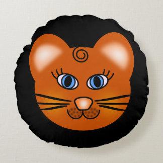 Lächelnde Cartoon-Katze Rundes Kissen