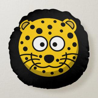 Lächelnde Cartoon-Leopard-Katze Rundes Kissen