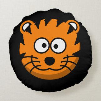 Lächelnde Cartoon-Tiger-Katze Rundes Kissen