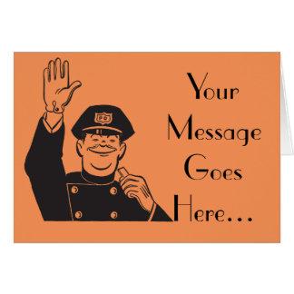 Lächelnde Hand, die freundliche Polizist-Schablone Karte