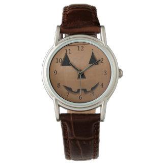 Lächelnde Kürbis-Uhr Armbanduhr