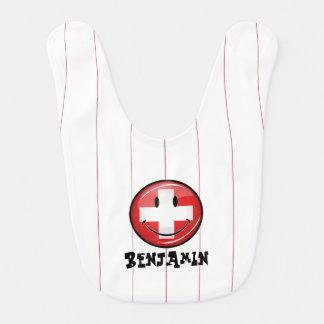 Lächelnde Schweizer Flagge Babylätzchen
